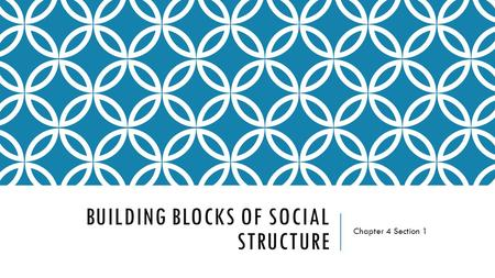 BUILDING BLOCKS OF SOCIAL STRUCTURE Chapter 4 Section 1.