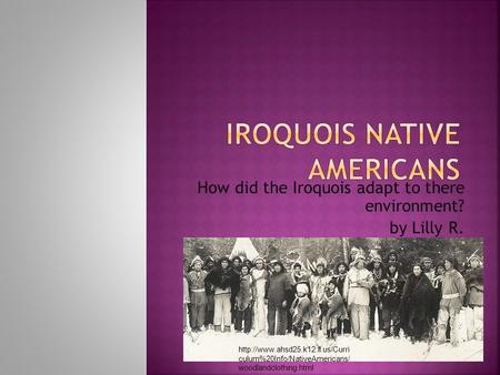 How did the Iroquois adapt to there environment? by Lilly R.  culum%20Info/NativeAmericans/ woodlandclothing.html.