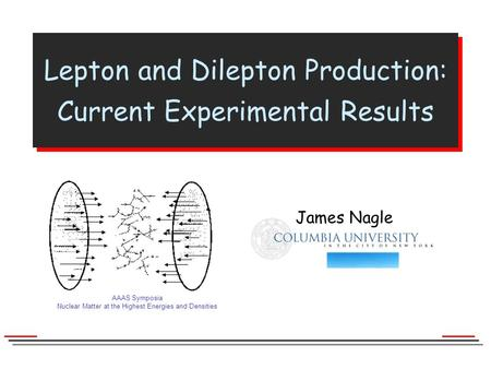 AAAS Symposia Nuclear Matter at the Highest Energies and Densities James Nagle Columbia University James Nagle Lepton and Dilepton Production: Current.