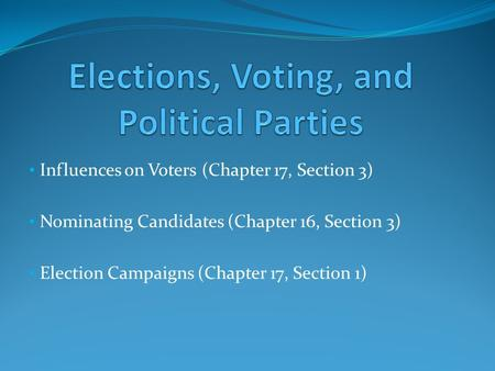 Influences on Voters (Chapter 17, Section 3) Nominating Candidates (Chapter 16, Section 3) Election Campaigns (Chapter 17, Section 1)
