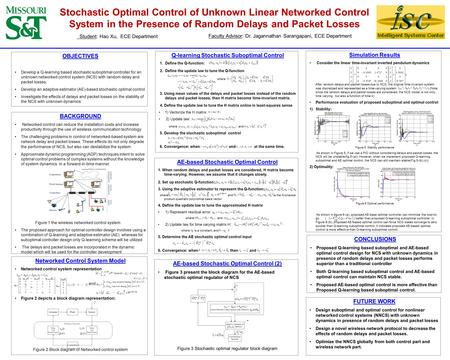 Stochastic Optimal Control of Unknown Linear Networked Control System in the Presence of Random Delays and Packet Losses OBJECTIVES Develop a Q-learning.