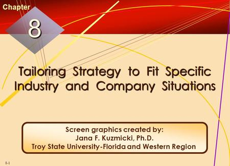 8-1 Tailoring Strategy to Fit Specific Industry and Company Situations 88 Chapter Screen graphics created by: Jana F. Kuzmicki, Ph.D. Troy State University-Florida.