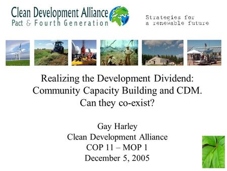 Realizing the Development Dividend: Community Capacity Building and CDM. Can they co-exist? Gay Harley Clean Development Alliance COP 11 – MOP 1 December.