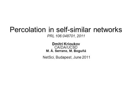 Percolation in self-similar networks PRL 106:048701, 2011