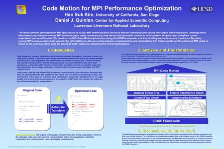 Code Motion for MPI Performance Optimization The most common optimization in MPI applications is to post MPI communication earlier so that the communication.