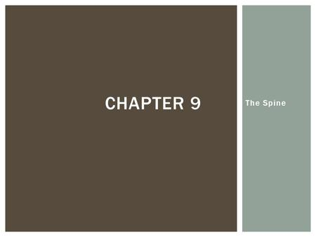 Chapter 9 The Spine.