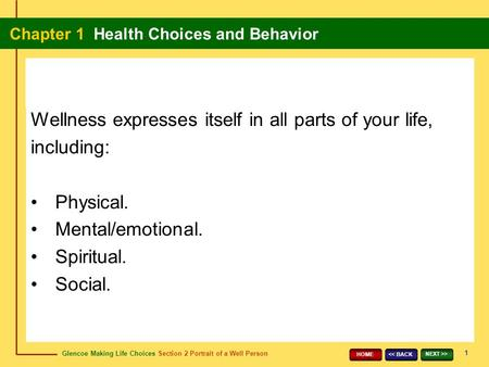Wellness expresses itself in all parts of your life, including: