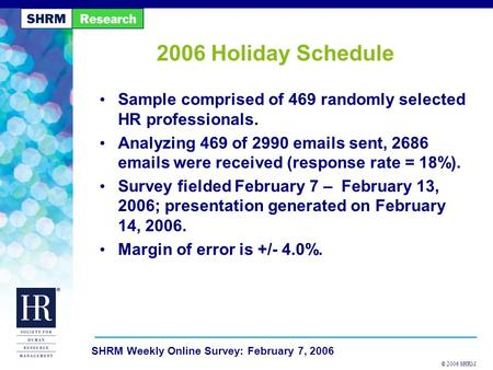 © 2006 SHRM SHRM Weekly Online Survey: February 7, 2006 2006 Holiday Schedule Sample comprised of 469 randomly selected HR professionals. Analyzing 469.