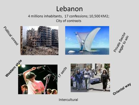 Lebanon 4 millions inhabitants, 17 confessions; 10,500 KM2; City of contrasts Intercultural 17 sects Political unrest Private Sector eager to win Western.