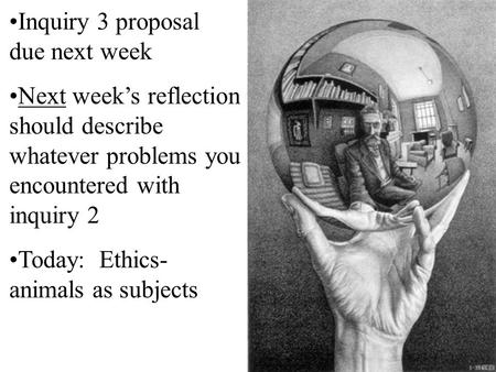 Inquiry 3 proposal due next week Next week's reflection should describe whatever problems you encountered with inquiry 2 Today: Ethics- animals as subjects.