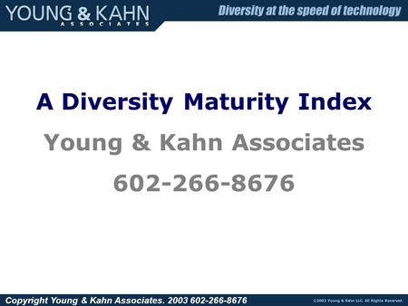 Copyright Young & Kahn Associates. 2003 602-266-8676 A Diversity Maturity Index Young & Kahn Associates 602-266-8676.