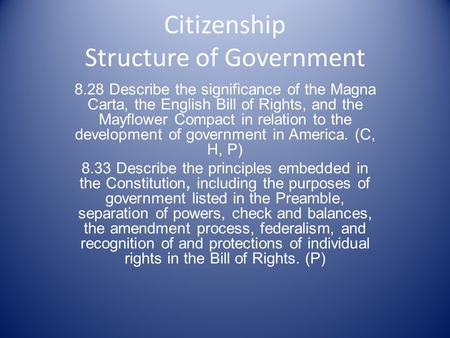Citizenship Structure of Government 8.28 Describe the significance of the Magna Carta, the English Bill of Rights, and the Mayflower Compact in relation.