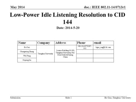 Doc.: IEEE 802.11-14/0713r1 Submission May 2014 Bo Gao, Tsinghua University Low-Power Idle Listening Resolution to CID 144 Date: 2014-5-20 Slide 1.
