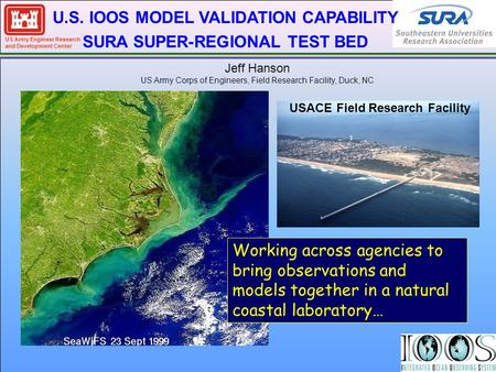 US Army Engineer Research and Development Center U.S. IOOS MODEL VALIDATION CAPABILITY SURA SUPER-REGIONAL TEST BED Working across agencies to bring observations.