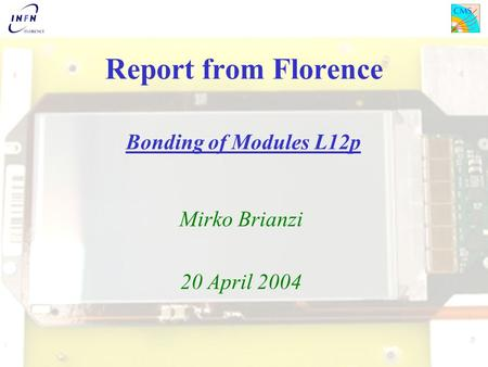 Report from Florence Bonding of Modules L12p Mirko Brianzi 20 April 2004.