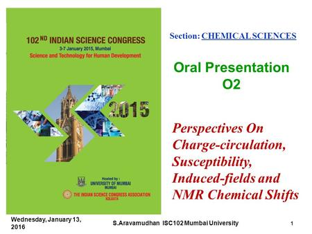 Perspectives On Charge-circulation, Susceptibility, Induced-fields and NMR Chemical Shifts Section: CHEMICAL SCIENCES Oral Presentation O2 Wednesday, January.