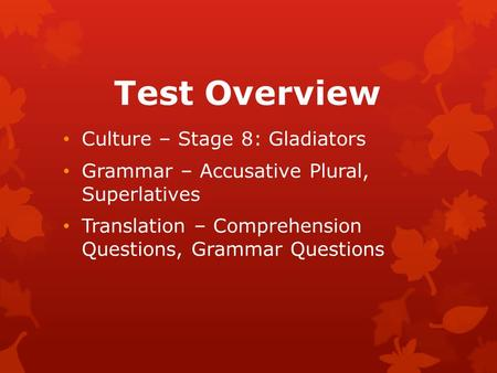 Test Overview Culture – Stage 8: Gladiators Grammar – Accusative Plural, Superlatives Translation – Comprehension Questions, Grammar Questions.