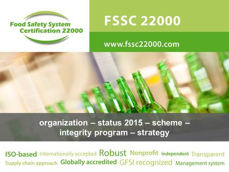 organization – status 2015 – scheme – integrity program – strategy