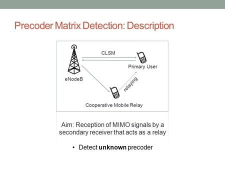 Precoder Matrix Detection: Description Primary User Cooperative Mobile Relay eNodeB Aim: Reception of MIMO signals by a secondary receiver that acts as.