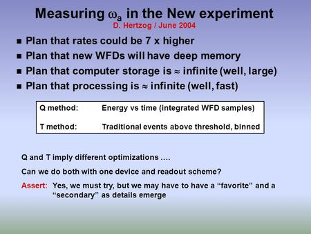Measuring  a in the New experiment D. Hertzog / June 2004 n Plan that rates could be 7 x higher n Plan that new WFDs will have deep memory n Plan that.