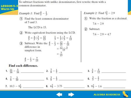 ALGEBRA READINESS LESSON 5-3 Warm Up. ALGEBRA READINESS LESSON 5-3 Warm Up.