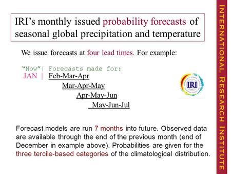 JAN | Feb-Mar-Apr Mar-Apr-May Apr-May-Jun May-Jun-Jul IRI's monthly issued probability forecasts of seasonal global precipitation and temperature We issue.