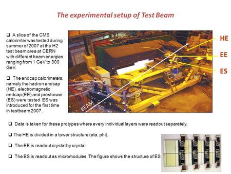 The experimental setup of Test Beam HE EE ES BEAM  A slice of the CMS calorimter was tested during summer of 2007 at the H2 test beam area at CERN with.