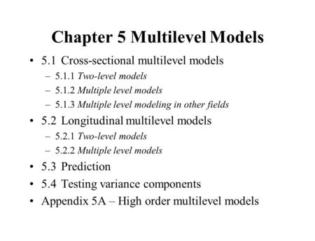 Chapter 5 Multilevel Models