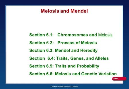 Click on a lesson name to select. Section 6.1: Chromosomes and Meiosis Section 6.2: Process of Meiosis Section 6.3: Mendel and Heredity Section 6.4: Traits,