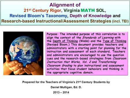 Alignment of 21 st Century Rigor, Virginia MATH SOL, Revised Bloom's Taxonomy, Depth of Knowledge and Research-based Instructional/Assessment Strategies.