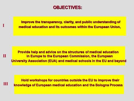 Improve the transparency, clarity, and public understanding of medical education and its outcomes within the European Union, OBJECTIVES: Provide help and.