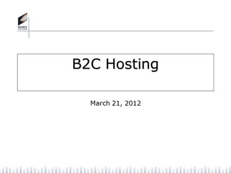 B2C Hosting March 21, 2012. 2 Executive Summary Business Problem: The primary goal of the project is to provide a world class web hosting Infrastructure.
