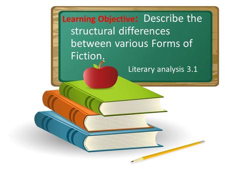 Learning Objective : Describe the structural differences between various Forms of Fiction. Literary analysis 3.1.