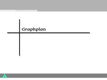 Graphplan. GRAPHPLAN Many Planning Systems now use these Ideas: –GraphPlan –IPP –STAN –SGP –Blackbox –Medic Runs orders of magnitude faster than partial.