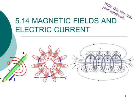 1 5.14 MAGNETIC FIELDS AND ELECTRIC CURRENT. 2  A magnetic field is created whenever an electric current flows through a conductor.  This is electromagnetism.