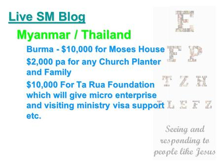 Live SM Blog Myanmar / Thailand Burma - $10,000 for Moses House $2,000 pa for any Church Planter and Family $10,000 For Ta Rua Foundation which will give.