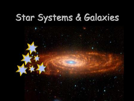 Star Systems & Galaxies. Star Systems & Clusters Most stars are members of groups of two or more stars, called star systems. Most stars are members of.