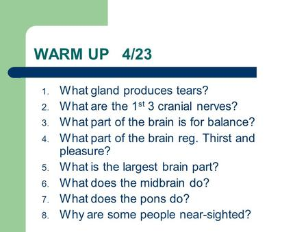 WARM UP 4/23 1. What gland produces tears? 2. What are the 1 st 3 cranial nerves? 3. What part of the brain is for balance? 4. What part of the brain reg.