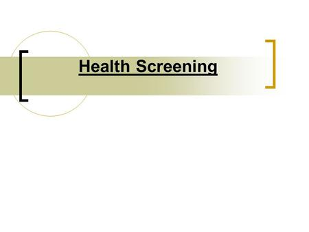 Health Screening. Questionnaire It is important that individuals are screened with a health appraisal questionnaire prior to participating in a fitness.