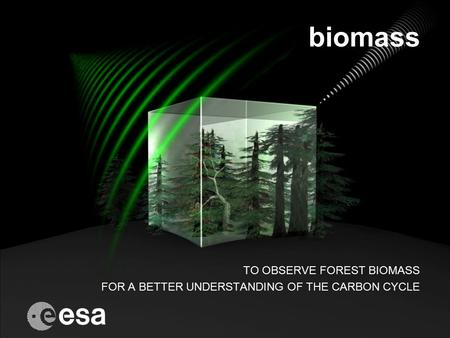 Biomass TO OBSERVE FOREST BIOMASS FOR A BETTER UNDERSTANDING OF THE CARBON CYCLE.