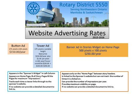 "Website Advertising Rates Appears in the ""Sponsor's Widget"" in Left Column Appears on Home Page, & all Story Pages & Site Pages for maximum ""impressions""."