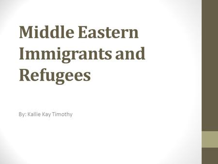 Middle Eastern Immigrants and Refugees By: Kallie Kay Timothy.