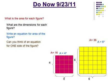 Do Now 9/23/11 46 6 A= 16 A = 4² A= 36 A = 6² 4 What is the area for each figure? What are the dimensions for each figure? Write an equation for area of.