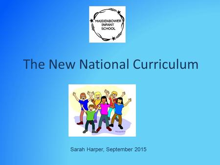 The New National Curriculum Sarah Harper, September 2015.