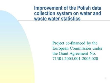 1 Improvement of the Polish data collection system on water and waste water statistics Project co-financed by the European Commission under the Grant Agreement.