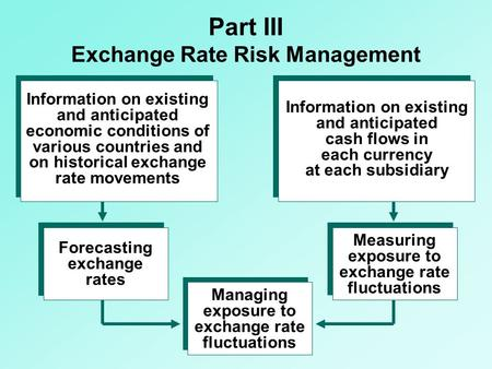Part III Exchange Rate Risk Management Information on existing and anticipated economic conditions of various countries and on historical exchange rate.