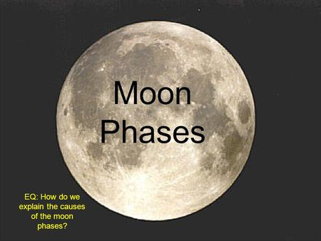 Moon Phases EQ: How do we explain the causes of the moon phases?