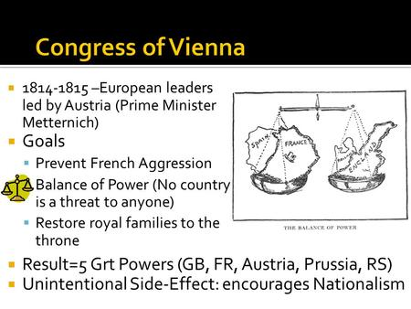  1814-1815 –European leaders led by Austria (Prime Minister Metternich)  Goals  Prevent French Aggression  Balance of Power (No country is a threat.