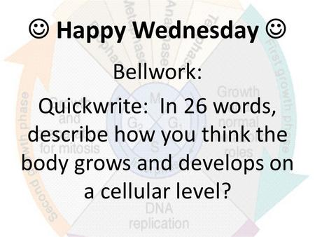 Happy Wednesday Bellwork: Quickwrite: In 26 words, describe how you think the body grows and develops on a cellular level?