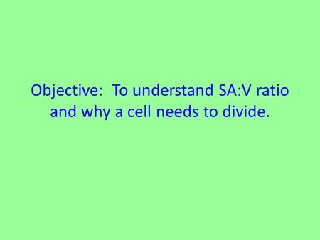 Objective: To understand SA:V ratio and why a cell needs to divide.